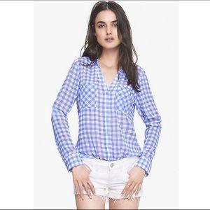 express | sheer gingham blouse